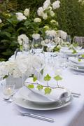 set table on a terrace, stylish, table decoration, ambience, festive, garden - stock photo