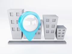 city with map pointers. gps concept - stock illustration