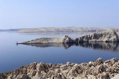 southern end of pag island, with castle ruins, dalmatia, adriatic sea, croati - stock photo