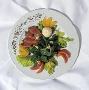 Low-calorie gourmet dish à la haute cuisine with delicate slices of fillet o Stock Photos
