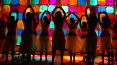 silhouette of Sexy Girls dancing in pub - stock footage