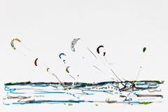 Stock Illustration of kitesurfing in st peter ording, drawing, artist, gerhard kraus, kriftel