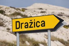 """sign """"drazica"""", pag island, dalmatia, adriatic sea, croatia, europe - stock photo"""