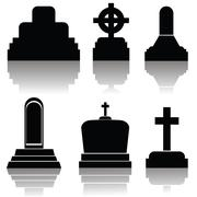 Stock Illustration of set of gravestone silhouettes