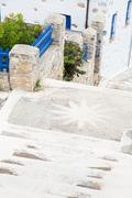 architecture on the cyclades. greek island buildings with her typical blue do - stock photo