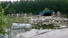 Polluted river Stock Footage