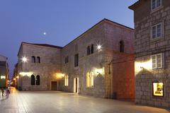 Stock Photo of main square trg kralja pedra kresimira iv in pag, pag island, dalmatia, kvarn