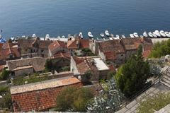 View from the fortress over the old town, sibenik, dalmatia, adriatic sea, cr Stock Photos