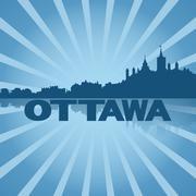 Ottawa skyline reflected with blue sunburst illustration Piirros