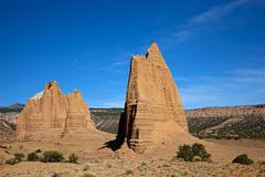 Cathedral mountain and needle mountain, cathedral valley, capitol reef nation Stock Photos