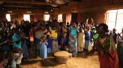 African People from Batwa Tribe Singing and Applauding in Uganda, Africa - stock footage
