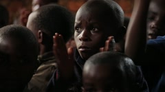 African Little Boys from Batwa Tribe Applauding in Uganda, Africa - stock footage
