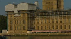 Houses of Parliament with scaffolding. HD version - stock footage