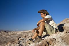 young man, 25 +, in the atacama desert, chile, south america - stock photo