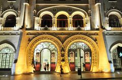 Entrance to rossio railway station, baixa district, lisbon, portugal, europe Stock Photos
