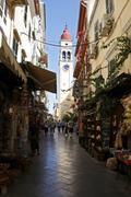 spire of the church of agios spyridon, city of corfu, corfu island, greece, e - stock photo