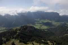 view of the allgaeu alps and the bavarian highlands, wendelstein, bavaria, ge - stock photo