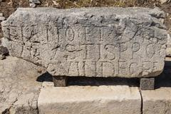Inscriptions of ancient cemetery Stock Photos