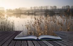 book concept landscape of lake in mist with sun glow at sunrise - stock illustration