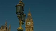 Big Ben and Westminster Bridge lamp static 01. HD - stock footage