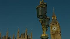Big Ben and Westminster Bridge lamp pan 01 HD - stock footage