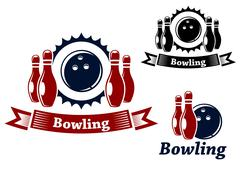 Stock Illustration of bowling emblems with ball and ninepins