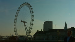London Eye and Westminster Bridge wide shot static. HD Stock Footage