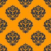 Indigo colored floral seamless pattern Stock Illustration
