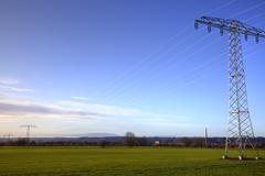 Stock Photo of electricity pylons in nassau, weinboehla, saxony, germany, europe