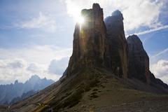 the three peaks, dolomites, alto adige, italy, europe - stock photo