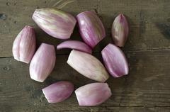 Stock Photo of peeled shallots or eschalotte (allium ascalonicum)