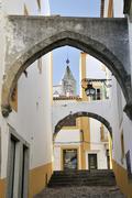 Arches over an alley, evora, unesco world heritage site, alentejo, portugal,  Stock Photos