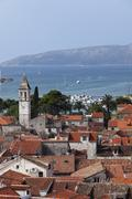 view from the spire of the cathedral to the west, trogir, dalmatia, adriatic, - stock photo