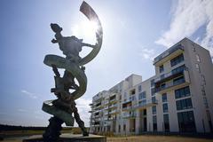 modern art sculpture at orestaden, copenhagen, denmark, europe - stock photo