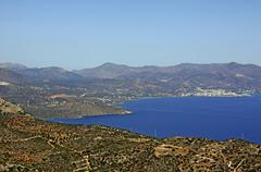Stock Photo of gulf of mirambello in front of agios nikolaos, view from the terrace of faner