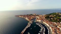 Aerial view, city of piran in slovenia Stock Footage