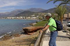 55 year-old tourist in stalis, crete, greece, europe Stock Photos