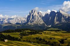 View over the seiser alm mountain pasture, towards the sassolungo and sassopi Stock Photos