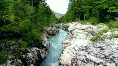 Flying over mountain river (soca, slovenia) Stock Footage