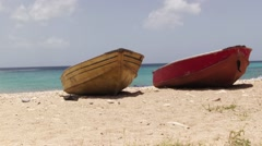 Fishermen boat on the beach (Caribbean Sea) - stock footage