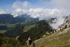 view of the allgaeu alps and the bavarian highlands, cable car to wendelstein - stock photo