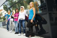 Group of adolescent girls between 13 and 17 years old Stock Photos