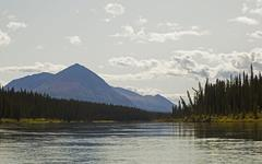 Stock Photo of takhini river, mount vanier behind, yukon territory, canada