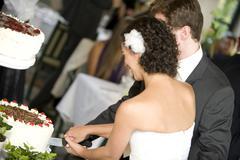 Wedding couple cutting their wedding cake Stock Photos