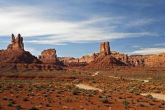 rock formations in the valley of gods, utah, usa - stock photo