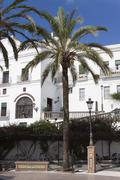 square in front of the casa consistorial in the andalusian village of vejer,  - stock photo
