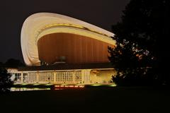 haus der kulturen der welt, house of world cultures, a congress hall, night s - stock photo