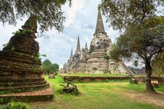 Ruins of acient stupas at buddhist temple Stock Photos