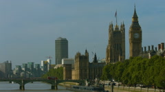 Big Ben and union jack flag WS static 01 HD version - stock footage