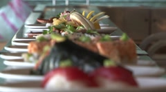 Sushi plates Stock Footage